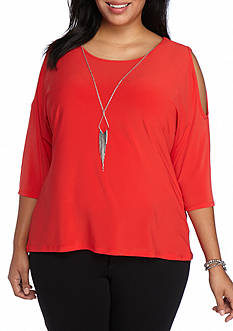 Kim Rogers Plus Size Cold Shoulder High Low Top with Necklace