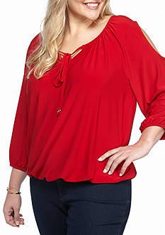 Kim Rogers Plus Size Cold Shoulder Knit Top
