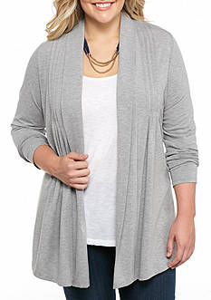 Kim Rogers Plus Size Front Panel Pleated Cozy Cardigan