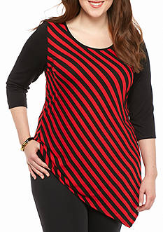 Kim Rogers® Plus Size Asymmetrical Hem Knit Top
