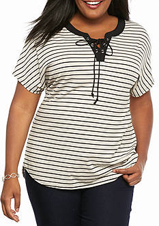Kim Rogers Plus Size Biader Knit Top