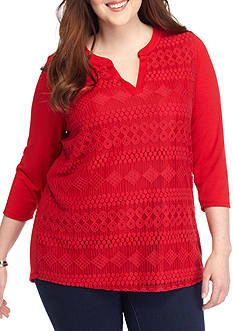 Kim Rogers Plus Size Lace Front Split Neck Knit Top