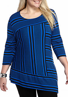 Kim Rogers Plus Size Stripe A Symmetrical Tunic