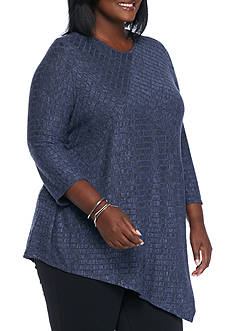 Kim Rogers Plus Size Pointed Hem Rib Knit Top