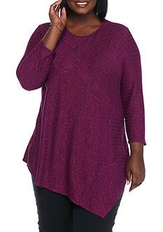 Kim Rogers Plus Size Pointed Hem Rib Knit Top