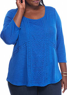 Kim Rogers Crochet Front Scoop Neck Knit Top