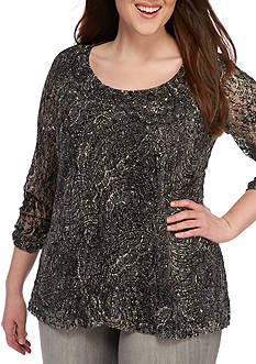 Kim Rogers® Plus Size Ruched Sleeve Lace Knit Top