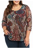Kim Rogers® Plus Size Ruched Sleeve Lace Knit