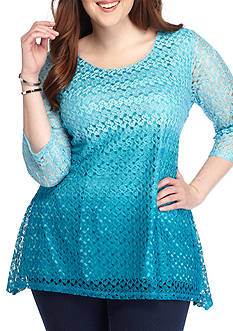 Kim Rogers Plus Size Ombre Lace Sharkbite Top