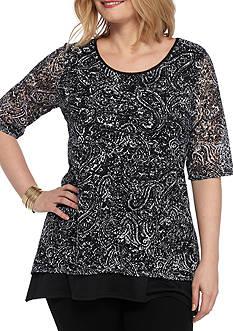 Kim Rogers Plus Size Double Lace Layer Shark-Bite Top