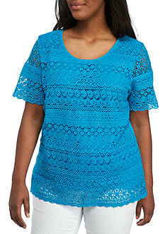 Kim Rogers Plus Size Short Sleeve Layered Lace Top