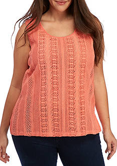 Kim Rogers® Plus Size Sleeveless Stripe Lace Tank