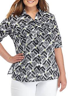 Kim Rogers Plus Size 3/4 Roll Tab Sleeve Utility Print Shirt