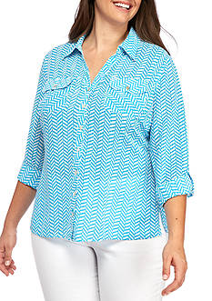 Kim Rogers Plus Size Utility Button Down Chevron Top