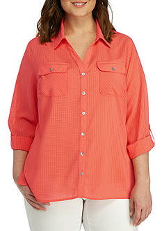 Kim Rogers Plus Size Three-Quarter Sleeve Button Down Top