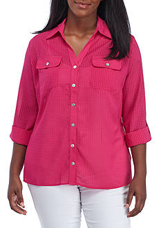 Kim Rogers Plus Size Collar Button Up Shirt