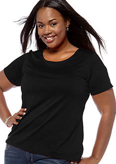 Kim Rogers Plus Size Solid Short Sleeve Knit Top