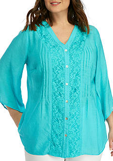 Kim Rogers Plus Size Bell Sleeve Button Down Top