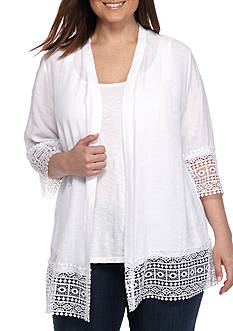 Kim Rogers Plus Size Cozy Lace Trim Cardigan