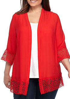 Kim Rogers® Plus Size Cozy Lace Trim Cardigan