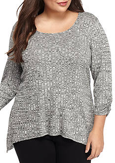 Kim Rogers Plus Size Ribbed Scoop Sharkbite Knit Top