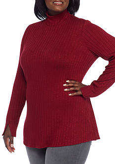 Kim Rogers Plus Size Long Sleeve Knit Top
