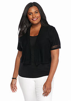 Kim Rogers® Plus Size Solid Pointelle Shrug