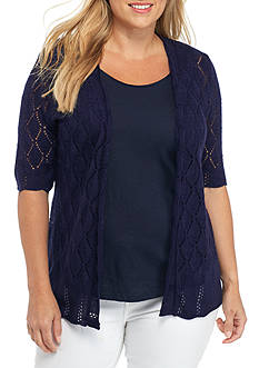 Kim Rogers® Plus Size Elbow Open Front Pointelle Cardigan