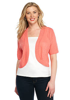 Kim Rogers® Plus Size Open Front Shrug