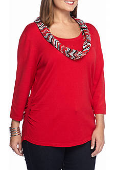 Kim Rogers Women's Plus Three-Quarter Sleeve Sweater with Scarf