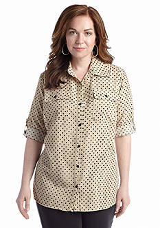 Kim Rogers® Plus Size Printed Camp Blouse