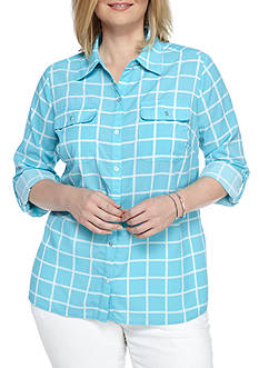 Kim Rogers Plus Size Printed Camp Blouse