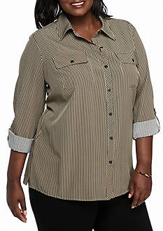 Kim Rogers Plus Size Stripe Woven Button Down Top