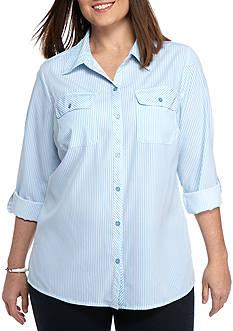 Kim Rogers Plus Size Stripe Woven Button Down Top
