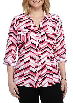 Kim Rogers Plus Size Striped Camp Shirt
