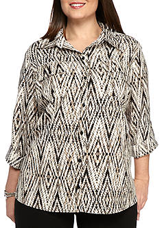 Kim Rogers Plus Size Printed Utility Top