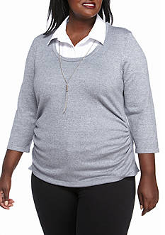 Kim Rogers Plus Size Sweater 2Fer