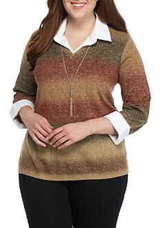 Kim Rogers Plus Size Sweater 2Fer Top