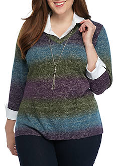 Kim Rogers Plus Size Sweater 2Fer Top