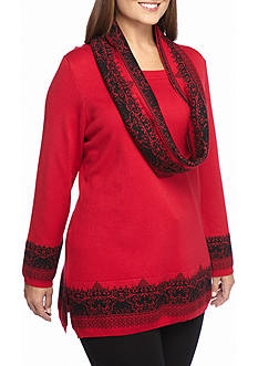 Kim Rogers Plus Size Scoop Neck Sweater with Scarf