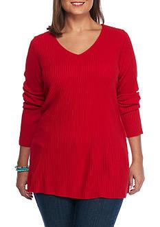 Kim Rogers Plus Size V-Neck Rib Sweater