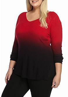 Kim Rogers Plus Size V-Neck Rip Dipdye Sweater