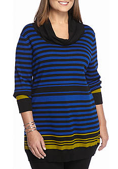 Kim Rogers Plus Size Striped Cowl Neck Sweater
