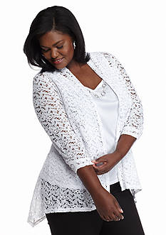 Kim Rogers® Plus Size Lace Bed Jacket 2Fer