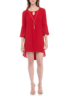 Kim Rogers Petite Size Scoop Split Neckline High-Low Dress
