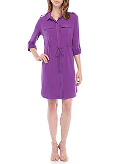 Kim Rogers® Petite Size Solid 3/4 Sleeve Point Collared Dress