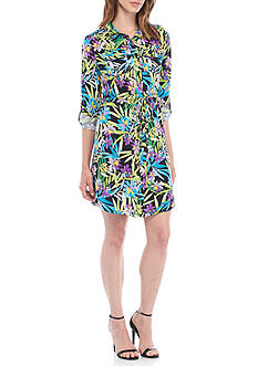 Kim Rogers® Petite Size All Over Print 3/4 Sleeve Point Collared Dress