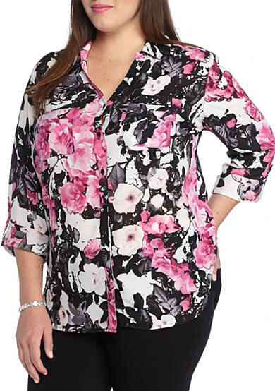 Kim Rogers® Plus Size Printed Camp Shirt