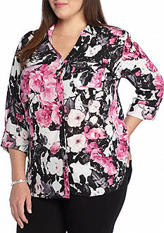 Kim Rogers Plus Size Printed Camp Shirt