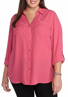 Kim Rogers Plus Size Camp Shirt